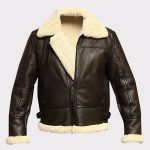 Men B3 Bomber Aviator Shearling Sheepskin Leather Winter Coat Jacket 2