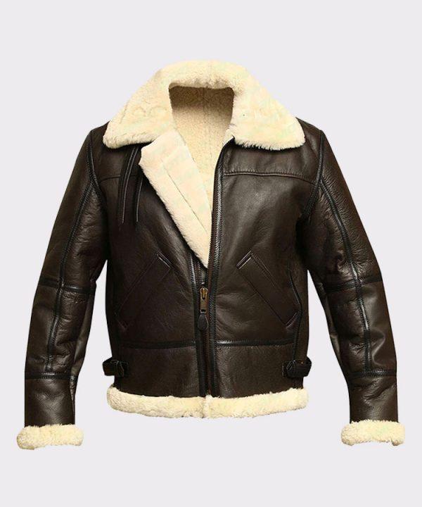Men B3 Bomber Aviator Sheepskin Leather Winter Jacket