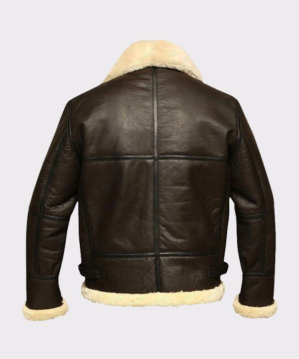 Men B3 Bomber Aviator Shearling Sheepskin Leather Winter Coat Jacket 3