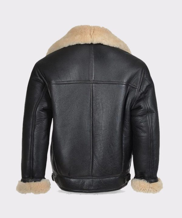 Mens B3 Flying Bomber WW2 USA Cockpit Aviator Pilot Real Shearling Sheepskin Leather Jacket 1