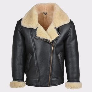 Mens B3 Flying Bomber WW2 USA Cockpit Aviator Pilot Real Shearling Sheepskin Leather Jacket