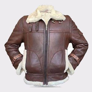 B3 RAF Aviator Pilot Sheepskin Bomber Flying Fur Shearling Brown Leather Jacket