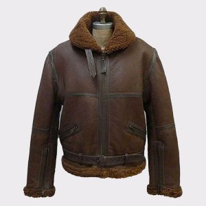 B3 Men's Aviator RAF Real Shearling Brown Leather Flight Bomber Jacket